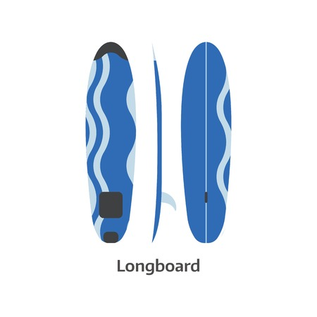 white board: Long surf board vector icon isolated on white background. Surfer longboard illustration. Classic surfboard. Surfing desk image in flat design. Illustration