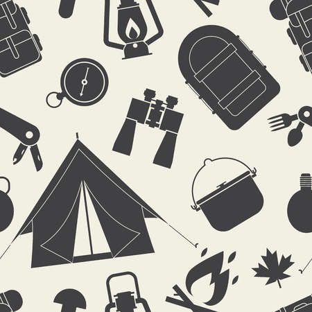hike: Hiking outline pattern. Camping seamless background of camp and hike elements silhouette. Summer adventure tourism tiling backdrop. Illustration