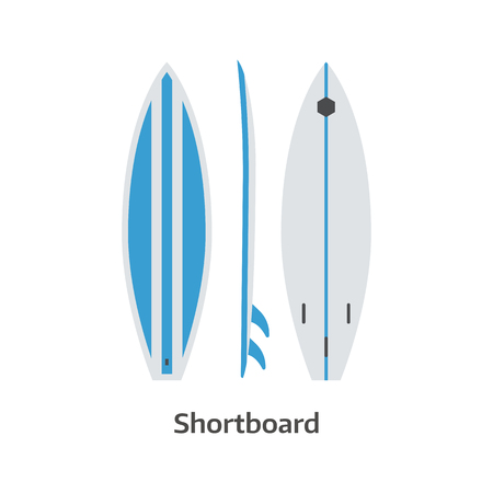 beach side: Short board vector icon isolated on white background. Surfer shortboard illustration. Classic surfboard. Surfing desk image in flat design.