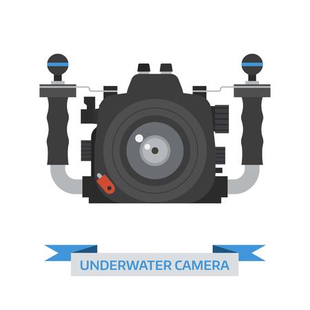 dslr: Underwater camera vector icon isolated on white background. DSLR in flat design. Illustration