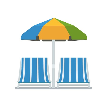 chaise lounge: Opened sun umbrella and deckchairs vector illustration isolated on white background. Chaise lounge pair under parasol in flat design. Beach chaise-lounging concept image. Summer beach elements.