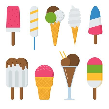 helado caricatura: Diferentes vectores dulce congelado colección helado. Varios diseño plano conjunto de helados. Verano helados de frío con frutas y chocolate. aislado colorido de fresa helado de postre ilustración.
