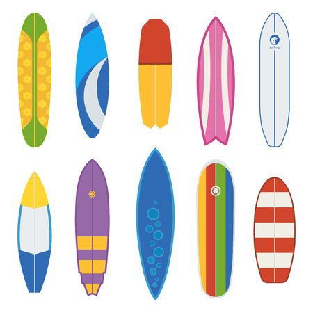 streamlined: Different surfboard collection. Flat design vector various surf desk set. Surfing desks and boards. Various colors and styles. Surfdesks isolated on white background. Shortboard, longboard and more
