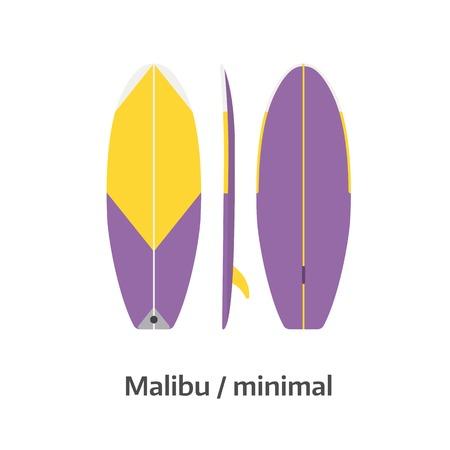malibu: Minimal board vector icon isolated on white background. Surfer malibu surfboard illustration. Surfing desk image in flat design.