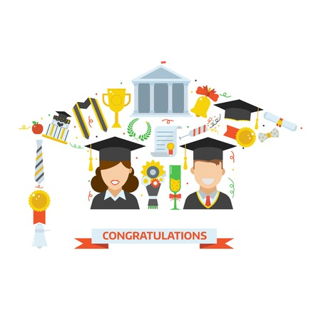 bachelor: Vector icon set of exam celebration elements in graduational hat shape. Man and woman graduates in caps and bachelor gowns. Graduation invitation, certificate or congratulation card template. Illustration