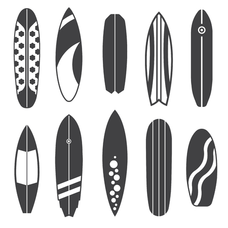 Outline surfboard collection. Flat design vector various surf desk icon set. Surfing desks and boards. Different colors and styles. Surfdesks icons isolated on white background in black and white.