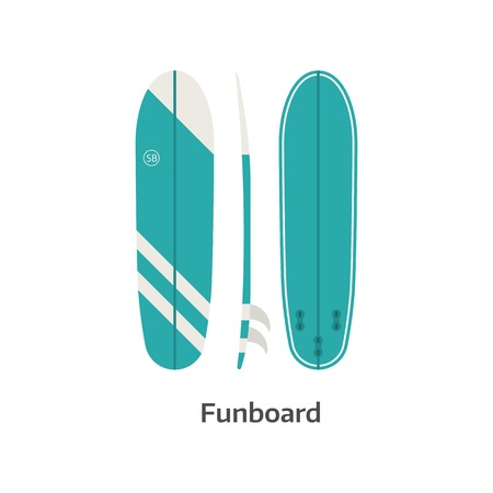 malibu: Funboard vector icon isolated on white background. Surfer fun board illustration. Long surfboard. Surfing desk image in flat design.