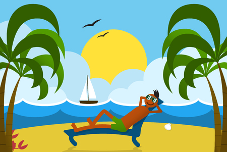 lounging: Happy sunbathing guy at beach on tropical island seashore. Summer vacation postcard. Lounging man on sunbed under palm trees. Summertime trip landscape with sunset, sea, sail boat and sandbeach.