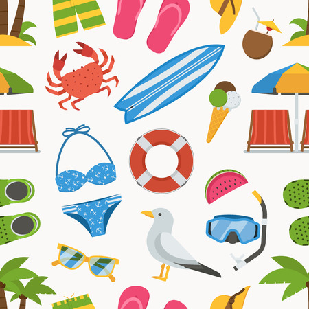 sunbathing: Summer beach seamless background. Sea vacation vector pattern. Sunbathing accessories and sunbathing activity beaches elements backdrop. Marine sports and leisure symbols.