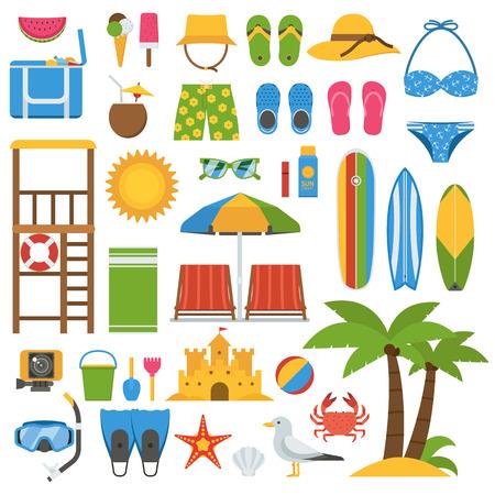 Sommer-Strand-Elemente Sammlung. Sommerzeit Urlaub am Meer Vektor-Icon-Set. Sonnenbaden Zubehör und Outdoor-Aktivitäten Strände Elemente. Marine-Sport und Freizeit Symbole. Tropische Feiertage Symbole.