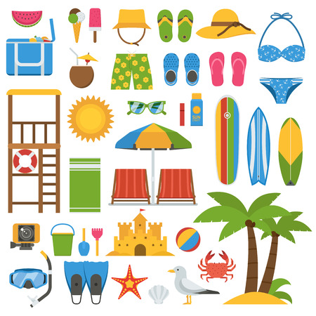 sand surfing: Summer beach items collection. Summertime sea vacation vector icon set. Sunbathing accessories and outdoor activity beaches elements. Marine sports and leisure symbols. Tropical holidays icons.