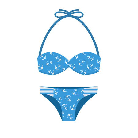 beachwear: Woman bathing suit with anchor pattern. Girl summer swimsuit in blue color. Women bikini vector illustration. Beach bra and panties in flat design.