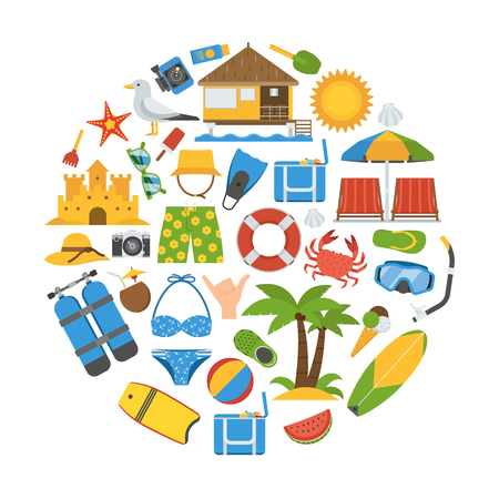 sunbathing: Love summer beach items collection circle shape. Sea vacation vector icon set. Sunbathing accessories and sunbathing activity beaches elements. Marine sports and leisure symbols. Tropic holiday icons. Stock Photo