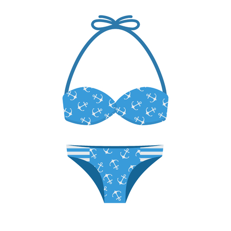 bikini top: Woman bathing suit with anchor pattern. Girl summer swimsuit in blue color. Women bikini vector illustration. Beach bra and panties in flat design.