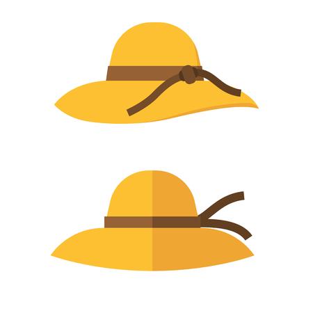 sunhat: Woman summer hat vector illustration. Girl beach sunhat flat design icon isolated on white. Women hats isolated on white background.