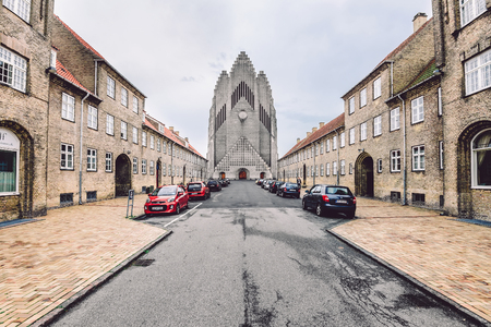 famous places: Grundtvigs Church in Copenhagen, Denmark - September, 23th, 2015. Due to its unusual architecture it is on of the most famous places of worship in the city.