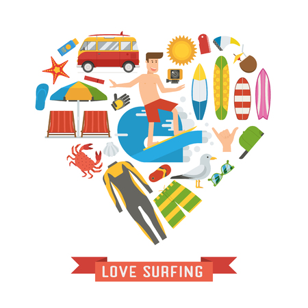 wetsuit: Love surfing concept. Surf elements and icon set in heart shape. Summer vacation accessories and equipment. Summertime sea travel items. Surfer man, wetsuit, surfboard, RV minivan and beach icons.