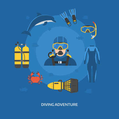 aqualung: Diving concept with diver man in wetsuit and scuba elements. Scuba-diving card with guy in aqualung and underwater adventure items. Dive machine, dolphin, crab, air tanks, flippers, snorkel mask. Illustration