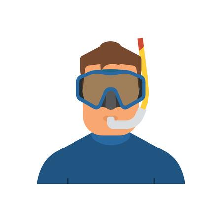 wetsuit: Scuba diver man in wetsuit icon. Snorkeler in water suit. Underwater sportsman with snorkel mask. Illustration