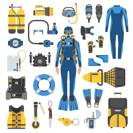 Duiken set elementen. Duiker man in wetsuit, duikuitrusting en accessoires. Duiken iconen. Onderwater activiteit apparaten in flat. Duiken en snorkelen kit. Duikpak, aqualung, snorkel, masker, zak.