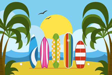 beach side: Surfing time concept vector illustration. Different surf boards standing on tropical beaches sand. Various surfboards on seashore side. Summer beach landscape with colorful surfboard set. Illustration