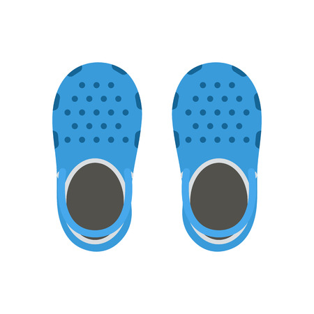 clogs: Blue beach clogs pair vector illustration. Summer plastic sea shoes vector icon. Children step-ins for active lifestyle in flat design.