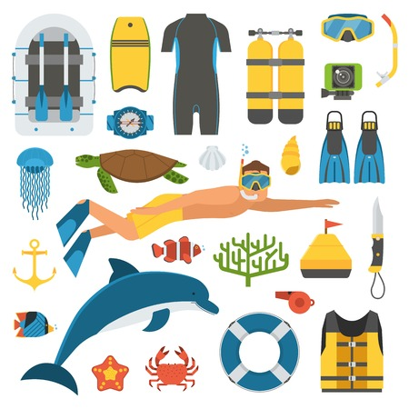 man underwater: Snorkeling set of elements. Snorkeler man with snorkel mask, sea life objects and scuba accessories. Skin diving icons. Summer underwater activity appliances. Dive suit, snorkel mask, dolphin, turtle.