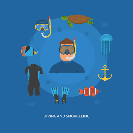man underwater: Diving concept with diver man in wetsuit and undersea elements. Snorkeling illustration with snorkeler and underwater activity items. Dive equipment. Snorkel, flippers, water suit, anchor and sealife.