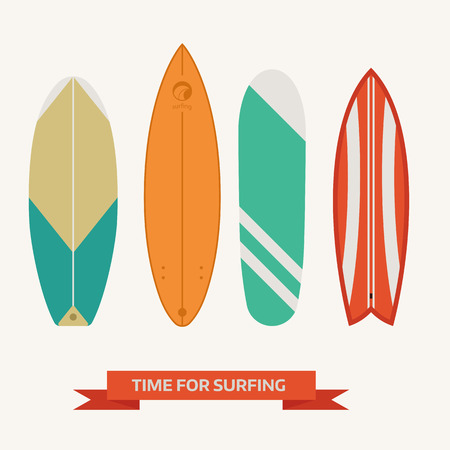 malibu: Different surfboard set. Flat design vector various surf desk collection. Surfing desks and boards. Various colors and styles. Surfdesks isolated on white background. Illustration