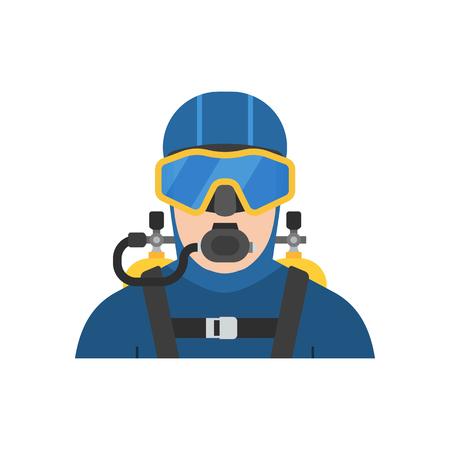 다이빙 슈트 아이콘에서 스쿠버 다이버 남자. 다이빙 소송에서 Aqualanger. 수중 운동가 아바타 흰색 배경에 고립입니다. 일러스트
