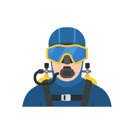 man underwater: Scuba diver man in diving suit icon. Aqualanger in diving suit. Underwater sportsman avatar isolated on white background.