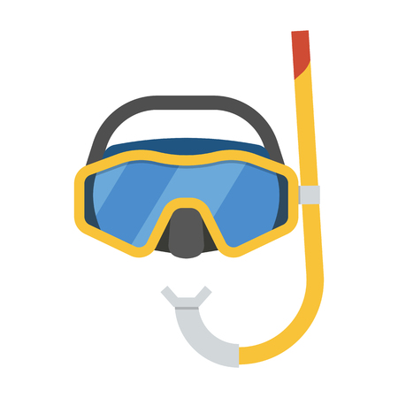 scuba goggles: Vector scuba diving mask and snorkel. Snorkeling tube and goggles. Sea swimming appliances. Summer water activity equipment.