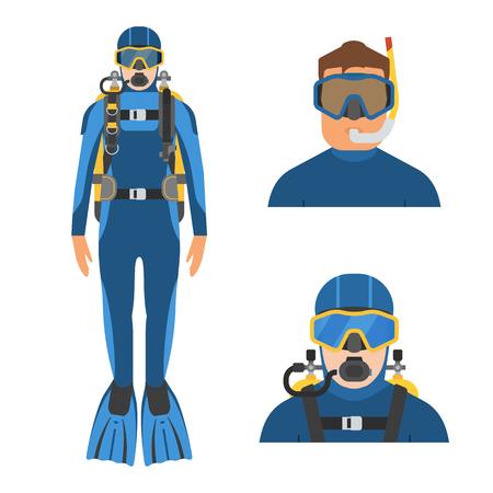 Scuba diver man in wetsuit in full height. Aqualanger and snorkeler in water suits. Underwater sportsmen avatars.