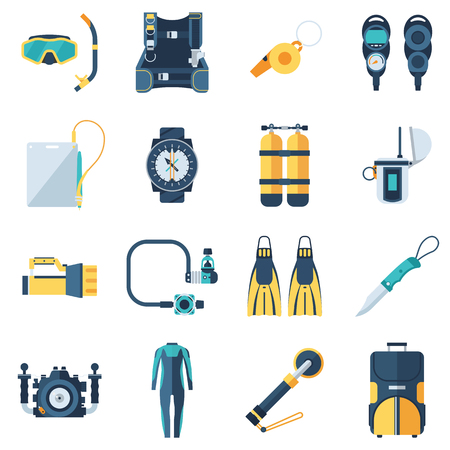 Scuba equipment and dive gear icon set. Snorkeling and diving icons.