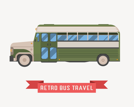omnibus: Old style travel omnibus illustration. American commuter retro. Tourist bus in green color. Vector autobus isolated on white background. Illustration