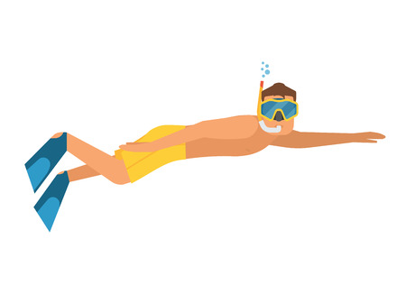 Scuba diver man vector illustration. Snorkeler swimming guy isolated on white background. Underwater sportsman with snorkel mask and flippers. Illustration