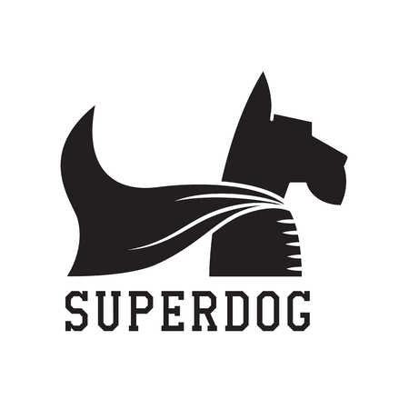 cloak: Superdog outline emblem. Super dog hero in heroic cape emblem. Scotch terrier in cloak. Illustration