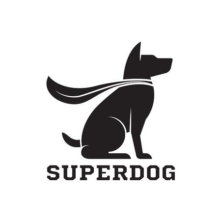Superdog outline emblem. Super dog hero in heroic cape emblem. Scotch terrier in cloak. Illustration