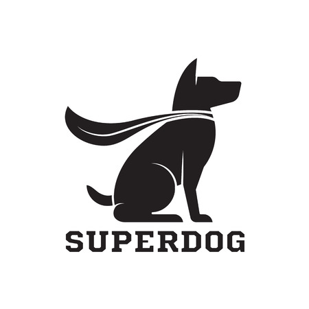 Superdog outline emblem. Super dog hero in heroic cape emblem. Scotch terrier in cloak. Çizim