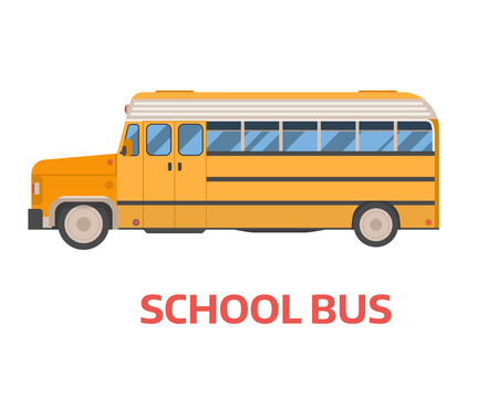 Old style yellow omnibus illustration. American commuter autobus. Vector school bus isolated on white background. Retro.