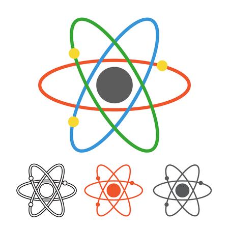 다른 스타일의 원자 벡터 아이콘입니다. Monoline, 평면 디자인, 핵심 궤도와 전자 궤도로 원자 개요. 핵 에너지 그림입니다.