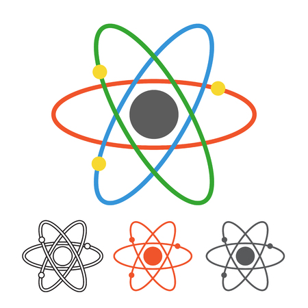Atom vector icon in different styles. Monoline, flat design, outline atoms with core and electron orbits. Nuclear energy illustration.
