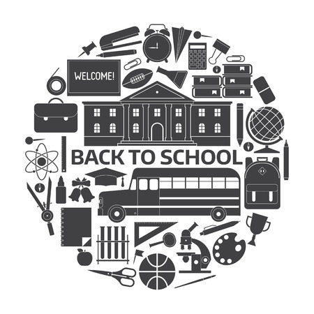 elementary: Back to school icon set. Basic education elements collection in circle. Schoolbag, bus, college building, chalkboard, schoolbus, stationery. Elementary school year outline equipment and supplies.