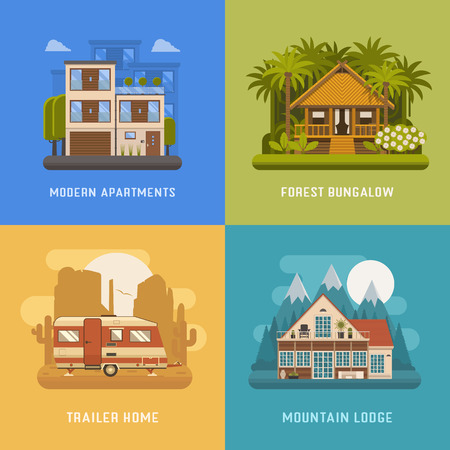 dwelling: Different dwelling set. City modern apartments, tropic bungalow at jungle, mountain lodge at national park area and camping trailer at wilderness. Vector home poster collection. House booking and rent