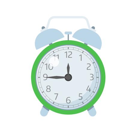 alarmclock: Mechanical alarm-clock illustration. Green color wake up clocks icon. Illustration
