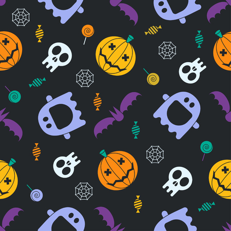 halloween pattern: Halloween pattern background. Mystic seamless pattern with pumpkins, skull, ghost, bat, candies and spider web. Halloween evil night concept backdrop. Halloween seamless pattern in traditional colors.