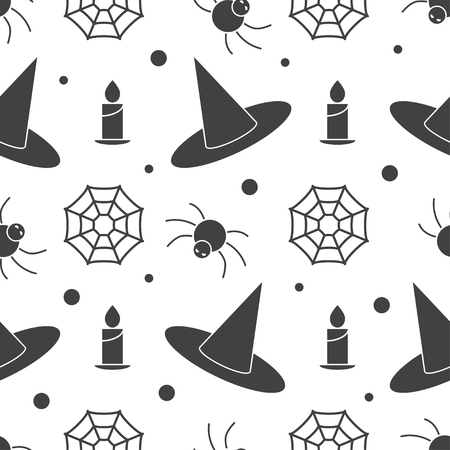 scary story: Halloween pattern background with witch hat, burning candle, web and angry spider. Mystic endless pattern on scary story or horror magic tale concept. Illustration