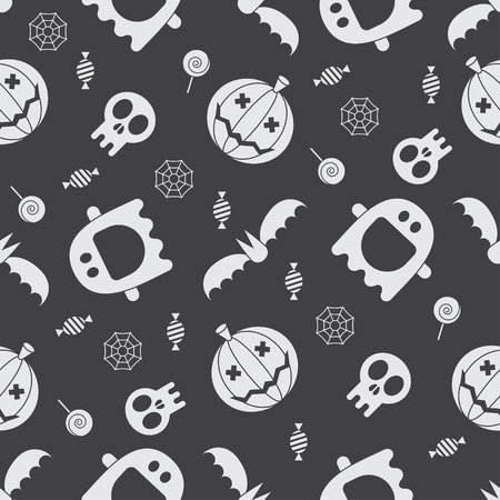 halloween pattern: Halloween pattern background. Mystic seamless pattern with pumpkins, skull, ghost, bat, candies and spider web. Halloween night concept backdrop. Halloween seamless pattern in black and white.