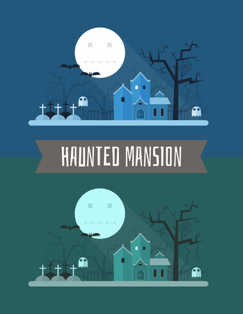 mystic place: Halloween landscape with full moon night, old haunted mansion, cemetery and gallows tree. Horror or scary story place vector card. Mystic scene. Illustration