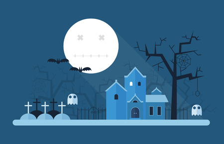 mansion: Halloween landscape with full moon night, old haunted mansion, cemetery and gallows tree. Horror or scary story place vector card. Mystic scene. Illustration